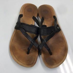 Ugg Black Leather Thong Sandals Sz 8